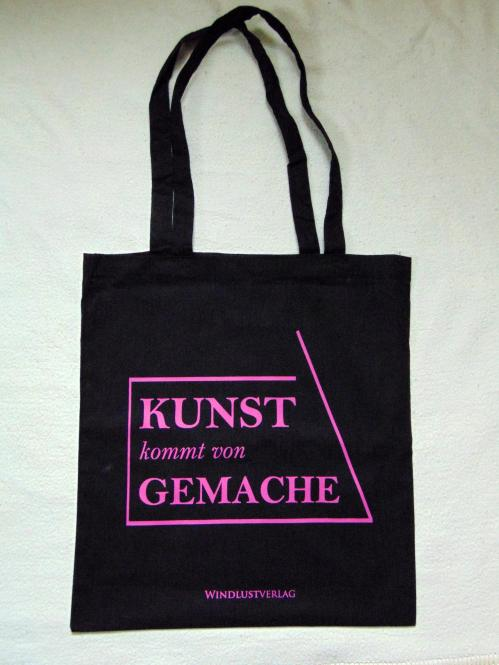 """Windlust-Beutel """"Kunst kommt von Gemache"""" PINKER DRUCK, lange Henkel 100% Baumwolle"""